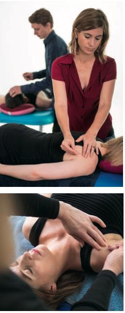 Deborah Benhayon and Miranda Benhayon practising bogus chakra-puncture on each other